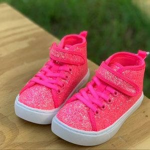 wonder nation Shoes - Toddler Girls Athletic Glitter Hi-Top Sneakers New